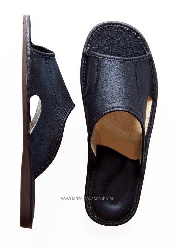speziell für Schuh mehrere farben gut (342-pm) Öffnen Toe Schwarz Herren Leder-Hausschuh Pantoffel