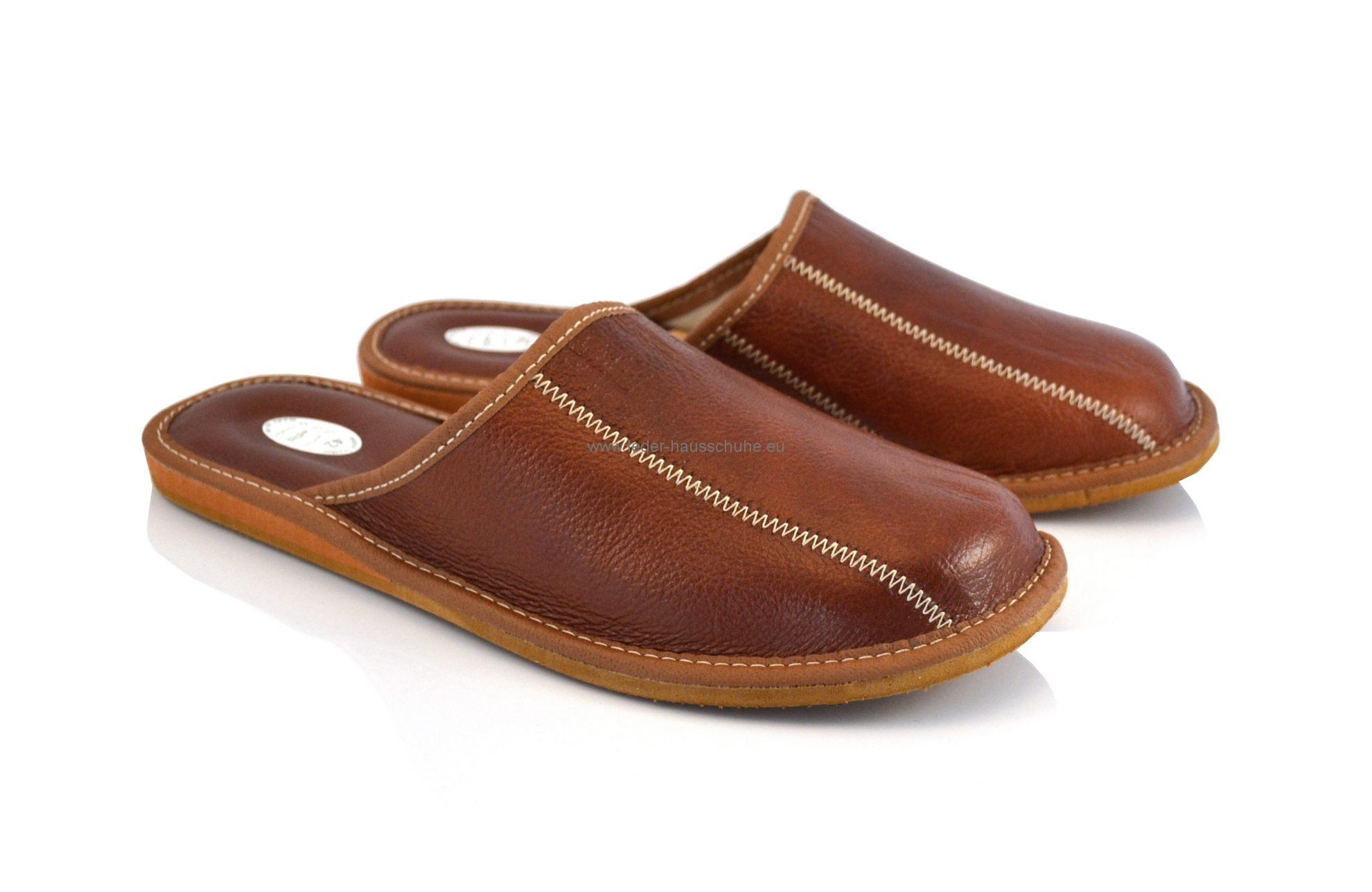 Outlet zu verkaufen Rabatt bis zu 60% online Herren Leder Hausschuh - Braun Pantoletten (338-pm)
